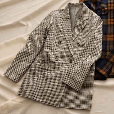 2019秋冬トレンドのガンクラブチェックダブルボタンジャケットの画像