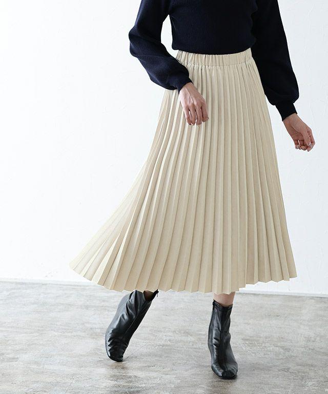 【1/24追加!15%OFF】スエードプリーツスカート